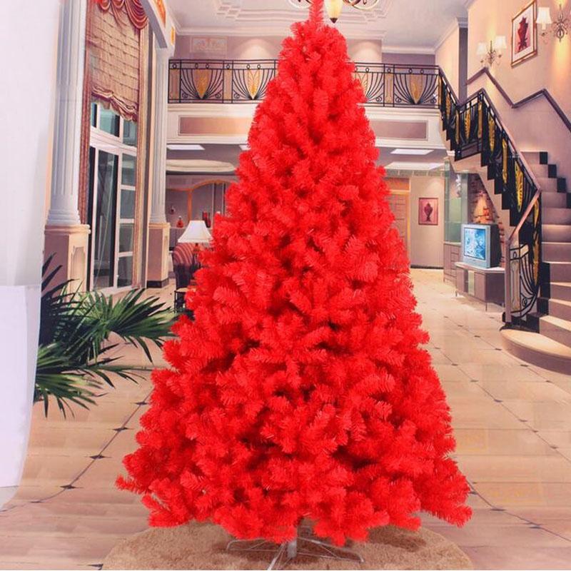 m cm cifrado de lujo del rbol de navidad rojo pesado de pino artificial pvc ximas rboles de navidad decoracin de ao