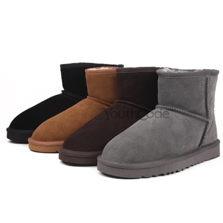 SIZE34-44 Classic Ankle Snow Boots winter flats plush shoes real cow Leather women men Mini super warm hard wearing(China (Mainland))