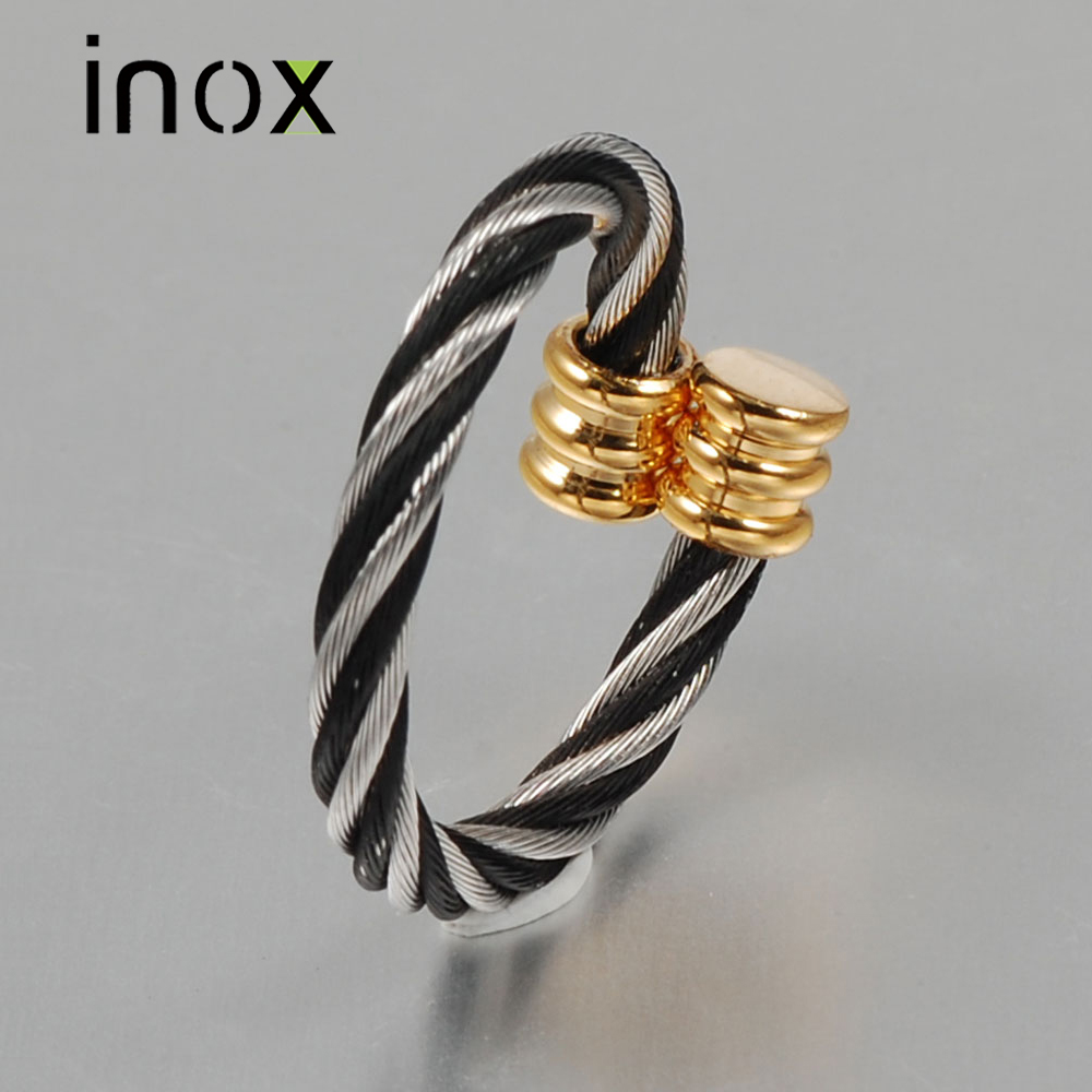 Inox Jewelry Gold and Black Plated Wire Stainless Steel Ring For Women Wide 2.5mm Adjustable Wedding Bands Ring Jewelry USA Size(China (Mainland))