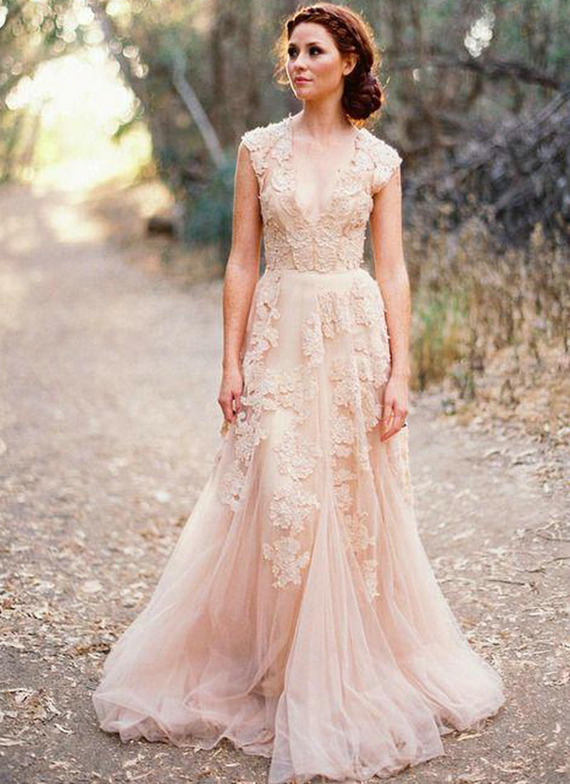 Blush lace wedding dresses 2015 a line bridal gowns for Vintage lace wedding dress pinterest