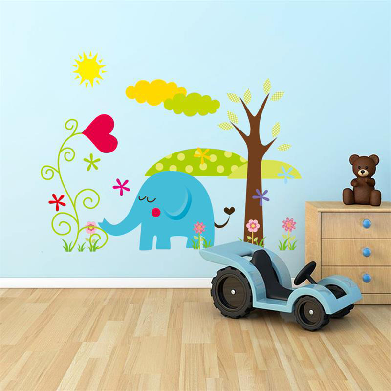 Cartoon Animal Forest Wall Stickers Decals For Nursery And Kids Room Home Decor 3d Wall Stickers For Kids Room Home Decoration(China (Mainland))