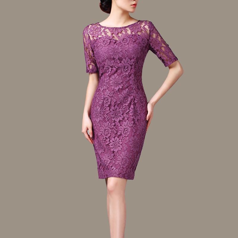 3XL women dress summer 2016 OL Slim simple short sleeve lace dress plue size dresses(China (Mainland))
