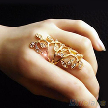 Women s Fashion Rhinestone Hollow Leaf Joint Armor Knuckle Crystal Ring 7 2MCK 4AA2