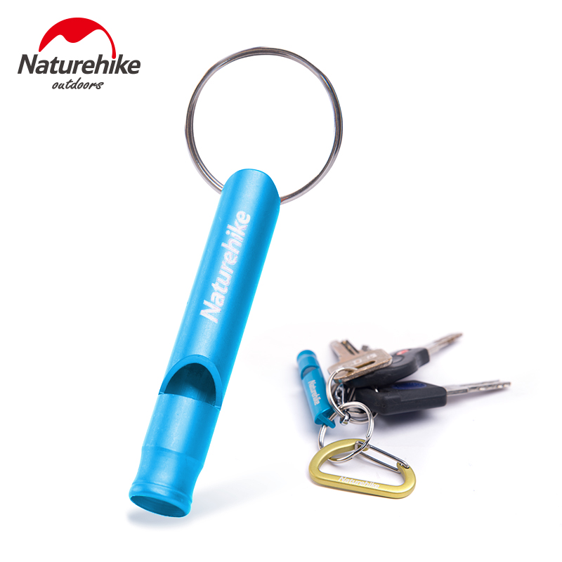 2pcs\lot NatureHike Outdoor Sports Survival Whistle Train Whistle Aluminum 6.5cm Mixed Colors Camping Accessory Blue Green(China (Mainland))