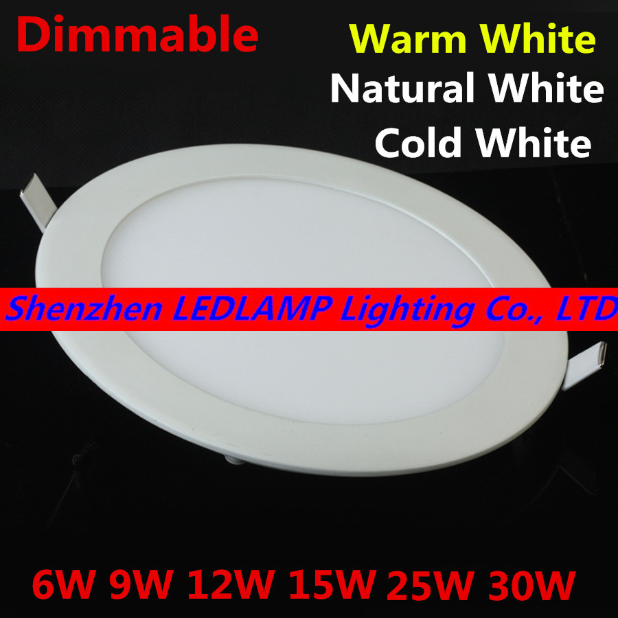 Dimmable LED Downlight 3W-30W 85-265V Warm White/Natural White/Cold White recessed dimmable led panel light DHL Free Shipping(China (Mainland))
