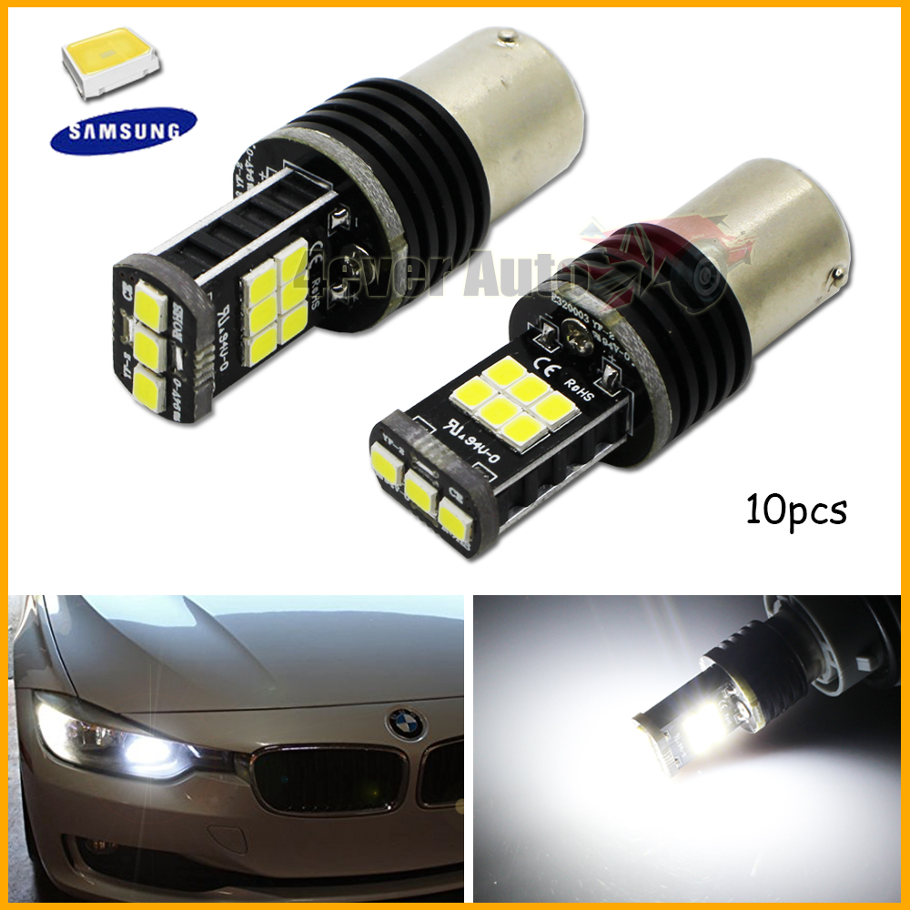 10pcs Error Free Super Bright White Samsung LED 15-SMD BAU15S 7507 PY21W 1156PY LED Bulbs For Front or Rear Turn Signal Lights<br><br>Aliexpress