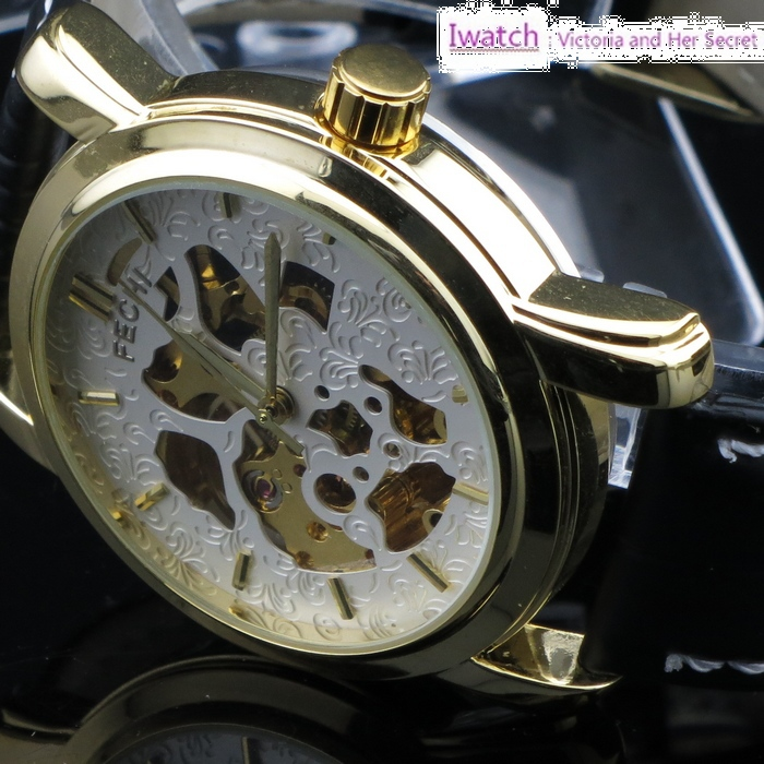 HK Post Or SG Post IF-069 Automatic Leather Mechanical Steel Case Watch Men Wrist Watch for 2013(China (Mainland))