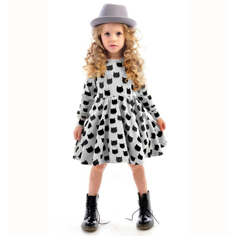 Winter Autumn Spring Girl Dress Animal Print Kids Clothes 2015 Fashion Long Sleeve Cotton Girls Clothes Casual Children Clothing<br><br>Aliexpress