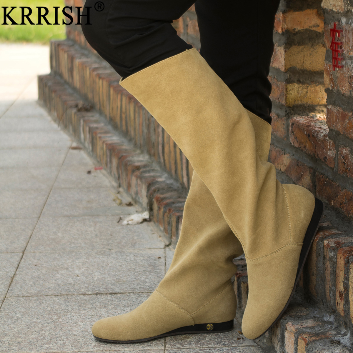 2013 spring and autumn wedges flat casual high-leg womens genuine leather boots<br><br>Aliexpress