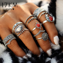 Buy 17KM 14pcs/Set Vintage Silver Color Moon Sun Midi Female Ring Sets Women 2017 New Red Big Stone Knuckle Rings Gift for $2.99 in AliExpress store