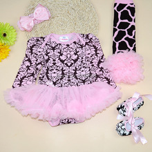 Baby Clothes Leopard Print Romper Dress Set+Stripe Ruffle Leg Warmer+First Walker+Headband Set  Dress For Girls  Christening(China (Mainland))
