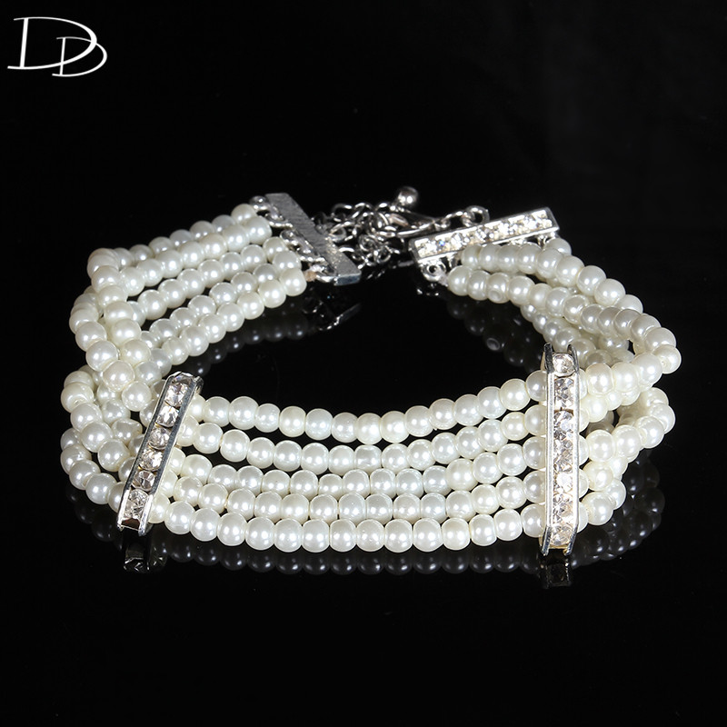 19cm elegant simulated <font><b>pearl</b></font> <font><b>beaded</b></font> <font><b>bracelet</b></font> for women wedding bridal jewelry accessories pulseira feminina best gifts HE025
