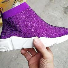 Kristalle Socke Stiefel Sport Weibliche Flache Polyester Spandex Knöchel Länge Strass Alle Über Socke Turnschuhe Casual Schuhe Frühling 2019(China)