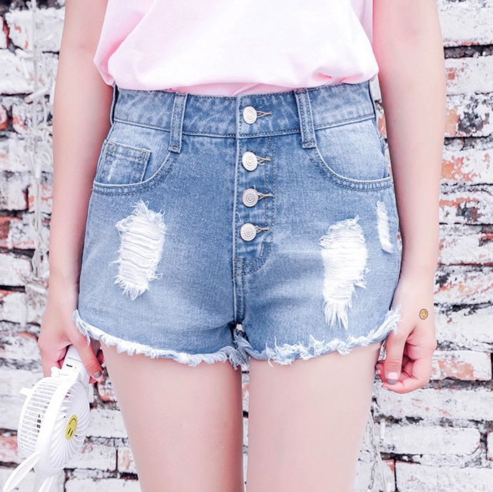 Denim Shorts For Girs 2016 Vintage High Waist Button Fly Women Jeans Holes Tassel Light Blue Summer Casual No Stretch B6605(China (Mainland))
