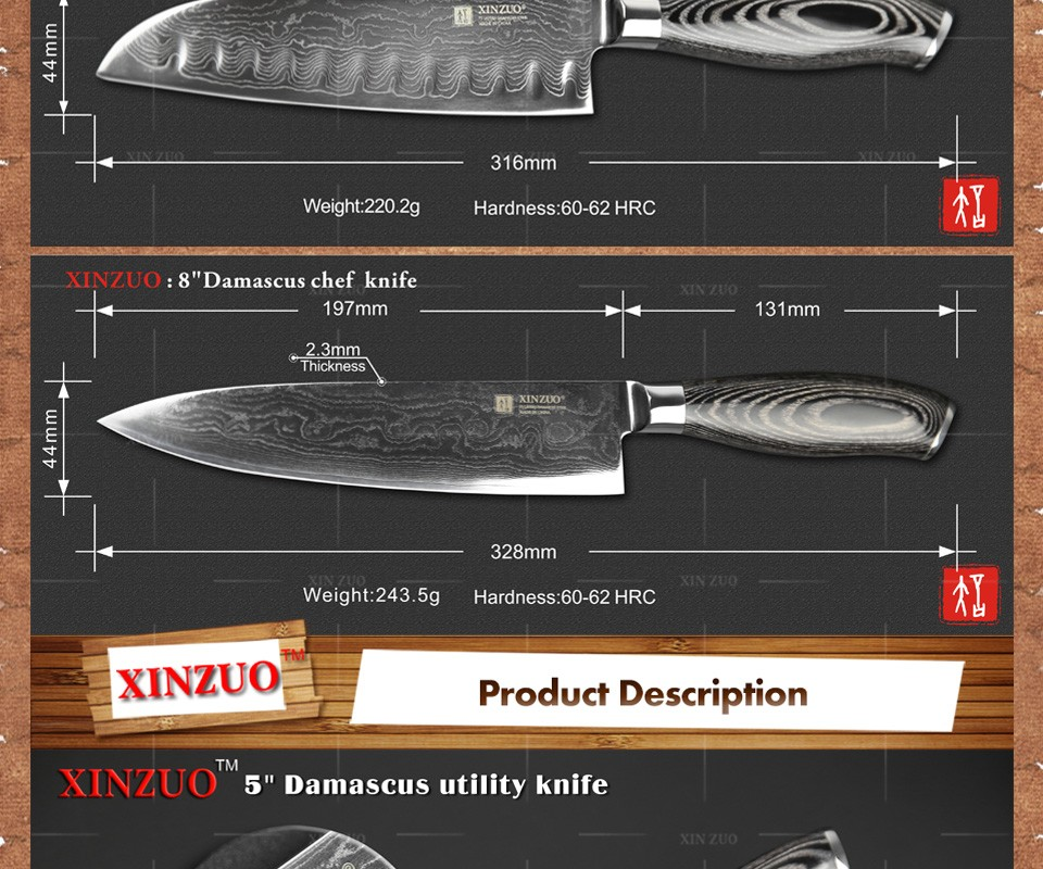 Buy XINZUO 3 pcs Chinese 73 layers Damascus Steel kitchen knife sets VG10 chef utility knives k133 color wood handle free shipping cheap