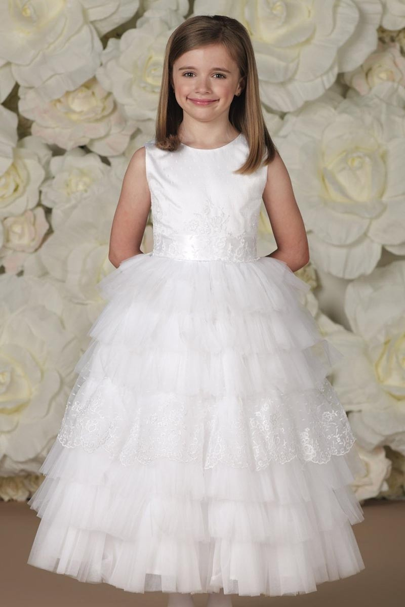 White girls pageant dresses tiered flower girl dresses for for Dresses for girls for a wedding