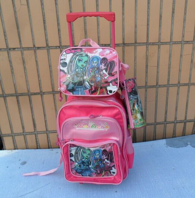 Kids Cattoon   Master Hight  School  trolley Schoolbag  +LunchBag+Pencil Case  Girls travel bags
