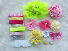 Deluxe DIY accessories kits set ,Baby Shower Headband, shabby flowers Rose hair bow Trim ,Birthday /christmas day gift  A(China (Mainland))