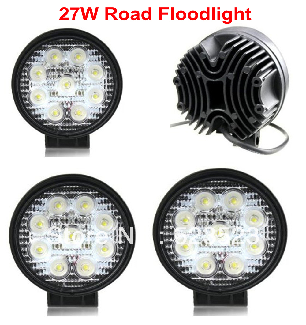 Free Ship 27W 10-30V 2430LM LED Work LAMP Off Road Floodlight 4x4- -Jeep Cabin/Boat/SUV/Truck/Car/ATVs Fishing Deck Driving(China (Mainland))