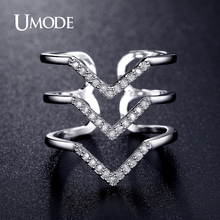 UMODE Trendy Two Colors Adjustable Micro CZ Crystal Chevron Pave Rings Gold / White Gold Plated Jewelry for Women Anel UR0360(China (Mainland))