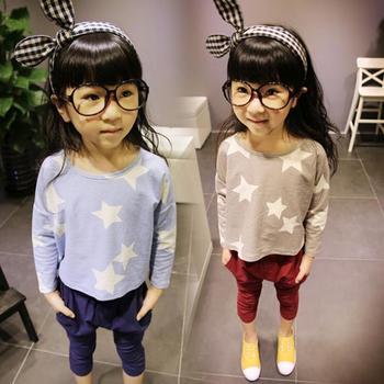 Дети девочки T рубашка свободного покроя без тары звезды принт одежда длинный рукав с v-образным вырезом T - рубашки одежда для 2-7Y