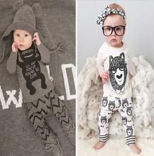 XY-102 Kikikids owl baby boys and girls clothes little monster panda long sleeve shirt + long pants 2 pcs. set kids clothes set(China (Mainland))