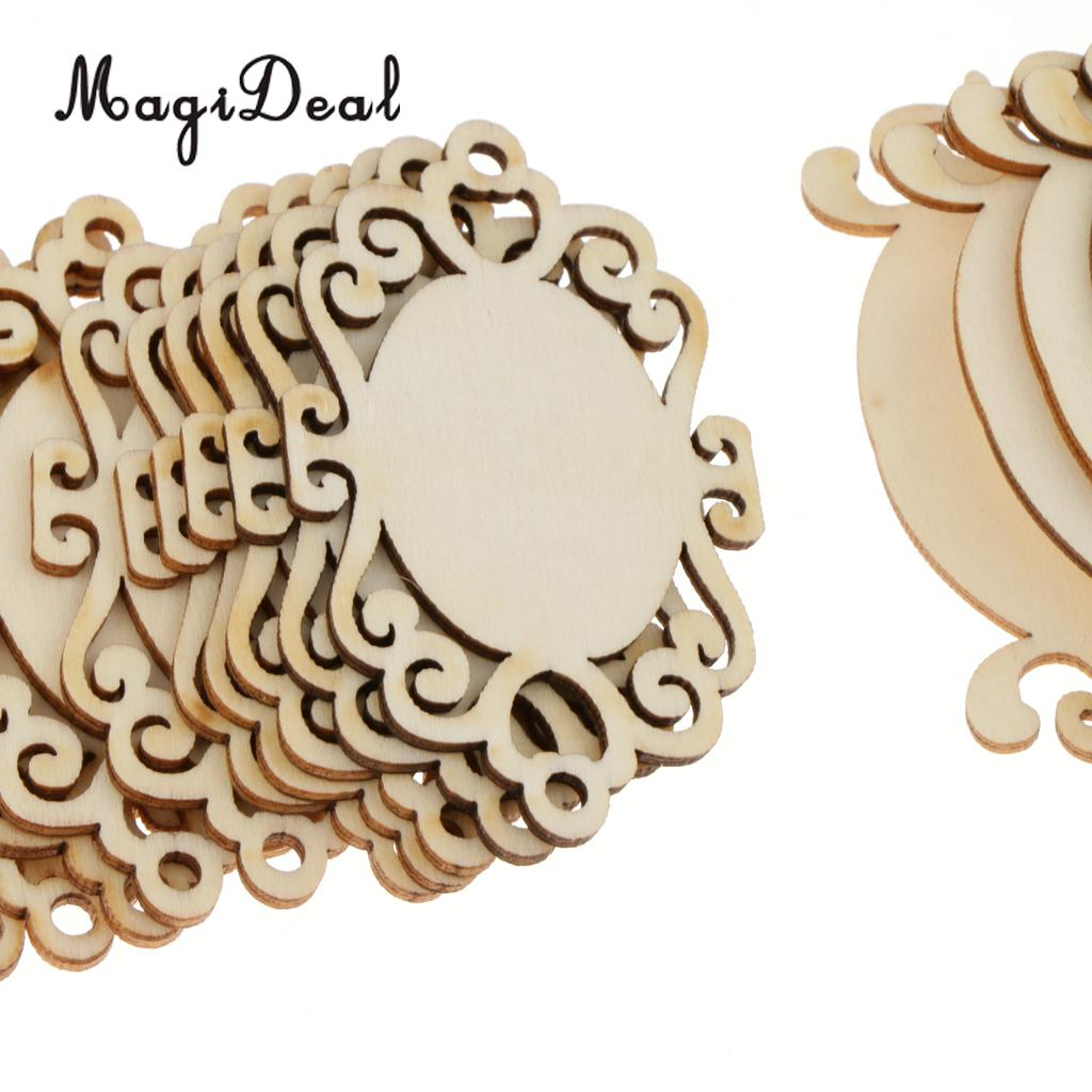 MagiDeal 72pcs Unfinished Mirror Cutout Wooden Chips Slices Chips Gift Tags Home Decor Scrapbooking Embellishment DIY Craft