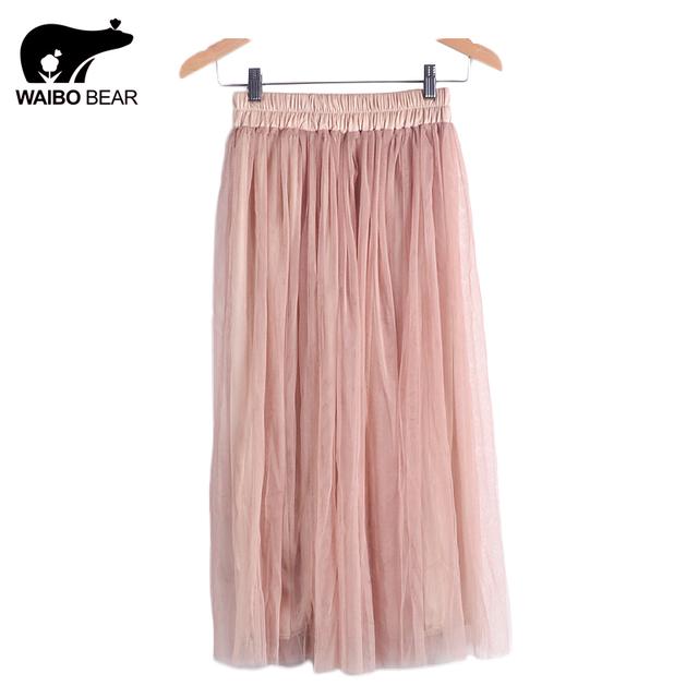 2016 юбка дамы элегантный свободного покроя высокая талия юбка в складку длинные тюль юбки прямые юбки твердого сетки фигурист юбка WAIBO медведь
