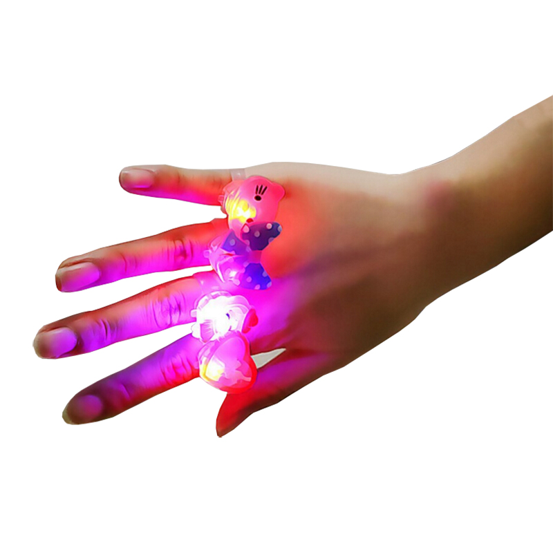 10pcs/lot Kids Cartoon LED Flashing Light Up Glowing Finger Rings Electronic Christmas Halloween Fun Toys Gifts for Children(China (Mainland))
