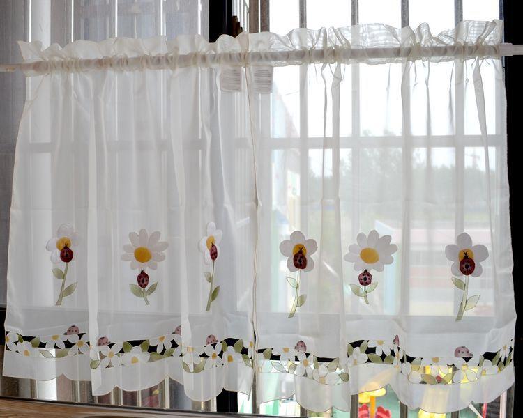 Pastoral Chic Flower Curtain Short Kitchen Curtain Cute Decoration Rustic Finished Curtain Two