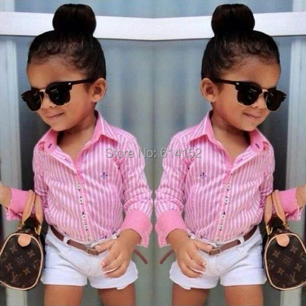 015 Summer Europe American girls pink striped shirt+shorts+belt clothing sets suit Fashion children kids girl clothes - Hongfei Garment Co., Ltd. store