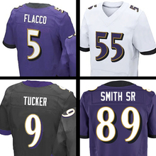 #89 Steve Smith Sr #5 Joe Flacco #55 Terrell Suggs #9 ustin Tucker Purple Black White Elite 100% Stitched Adult(China (Mainland))