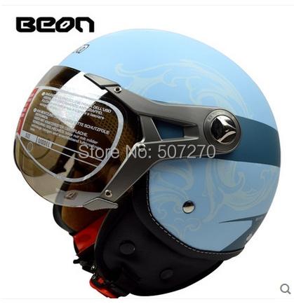 Free Shipping Vintage Motorcycle Helmet ECE Approved BEON 3/4 Open Face Motocross Street Scooter Matt Blue Helmet Adult ##B07(China (Mainland))