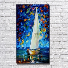 Buy BA Oil Painting 100%Hand-painted Modern Design Knife Canvas Painting Sailing Landscape Oil Paintings Canvas Art Framed for $12.06 in AliExpress store