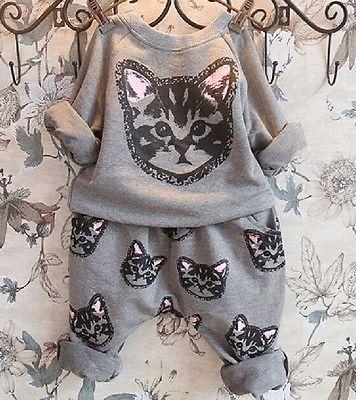 2016 New Hot-selling 2pcs kids Girls Long Sleeve Cat Kitten Printed T-shirt Tops+Pants Sets Outfits Spring Autumn Clothing Set(China (Mainland))