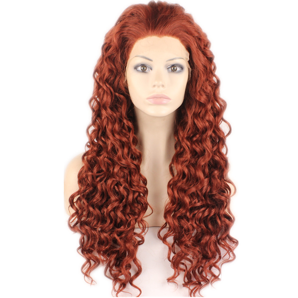 Cheap Hot Sale Full 33# Auburn Color Curly Synthetic Lace Front Wig Heat Resistant Hair Kanekalon Women Wigs.(China (Mainland))
