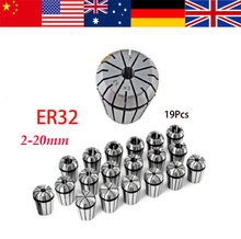 19pcs Full er32 collet chuck set from 2mm to 20mm for CNC milling lathe tool and spindle motor(China (Mainland))