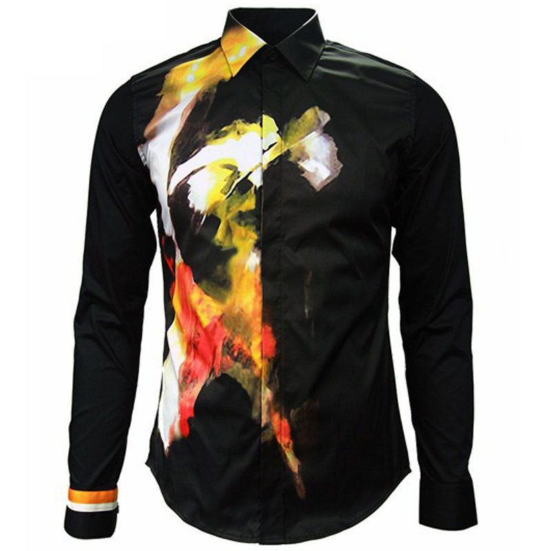 2015 New Arrival Mens Dress Shirt Autumn Fashion Printed Single Breasted Black Long Sleeve Shirts Men Casual Brand Camisa SocialОдежда и ак�е��уары<br><br><br>Aliexpress