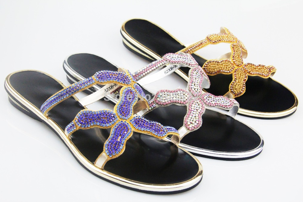 2015 [Y.Queen] leather Flats wedding party casual slipper women shoes rhinestone 3 color size 36 to43 - suiwen liu's store