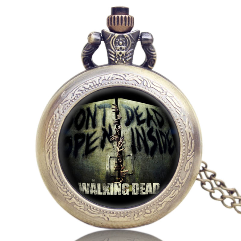 Hot American Drama Walking Dead Glass Dome Case Design Pocket Watch With Chain Necklace <br><br>Aliexpress