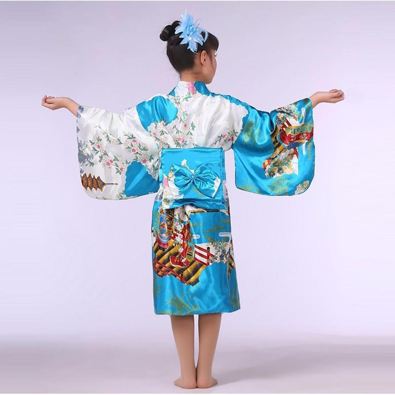Lake blue Stylish Japanese Baby Girl Kimono Dress Cute Kid