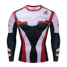 Мужская супергерой Marvel облегающая, с длинным рукавом рубашка Бэтмен Супермен Капитан Америка Вспышка 3D фитнес MMA UFC Рашгард футболка(China)