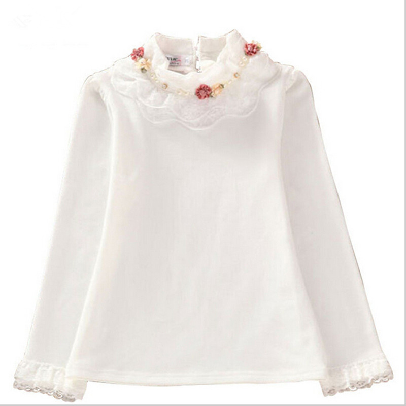 School Girl Blouse Long Sleeve Lace Shirts For Girls Blouse Kids Clothing For Girls Baby Soild Backing Shirt With Flowers