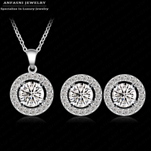 New Arrival Classic Wedding Jewelry Set Platinum Plated AAA Zirconia Round Circle Earring/Necklace Set Hot Sale CST0003-B(China (Mainland))