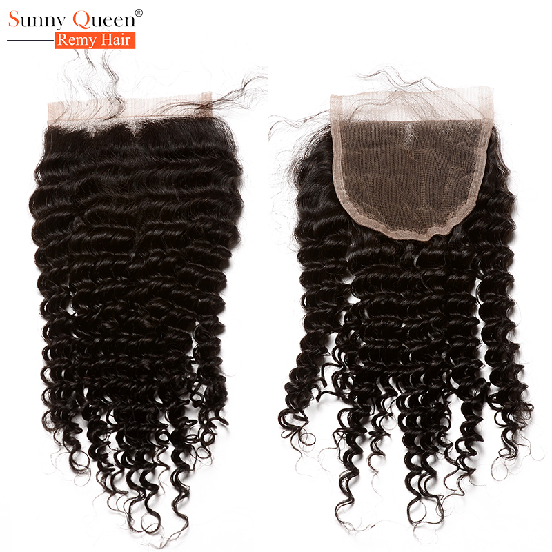 Фотография 5x5 Lace Closure Grade 6A Brazilian Kinky Curly Lace Closure Brazilian Virgin Curly Hair Bleached Knots Hair Free/Middle/3 Part