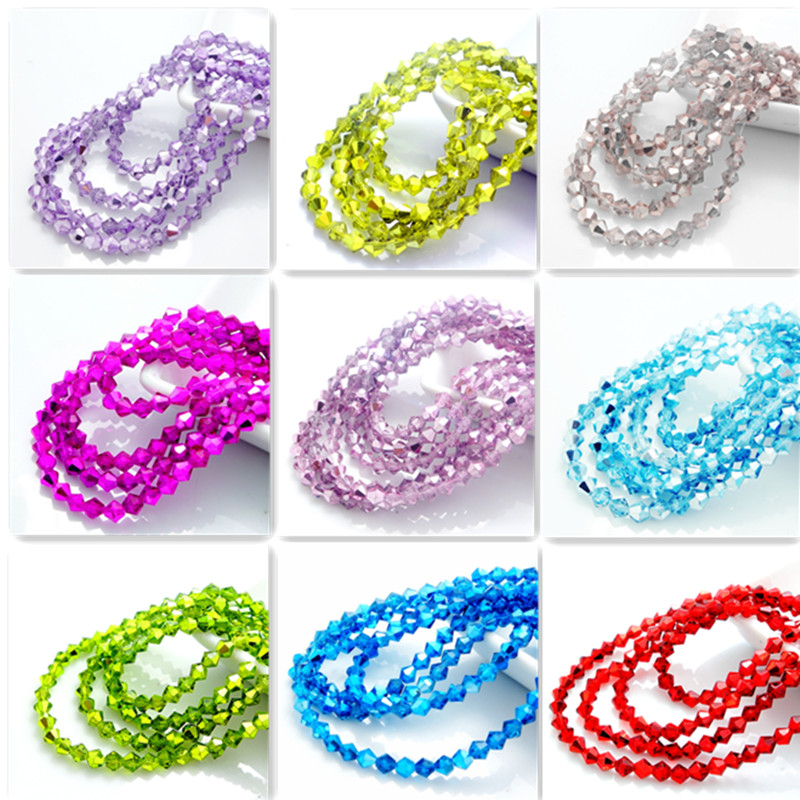 Hot new Colors 200pcs bicone crystal glass loose spacer 4mm beads DIY(China (Mainland))