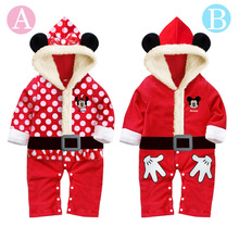 Baby girls and boys Infants climbing clothes Romper Christmas Mickey & Minnie casual trousers warm winter clothes to climb(China (Mainland))