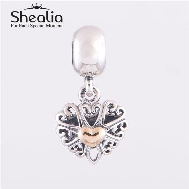 Серебро и золото влюбленность в форме сердца мотаться подвески бусины 925 чистое серебро кулон ювелирные изделия подходит браслеты своими руками