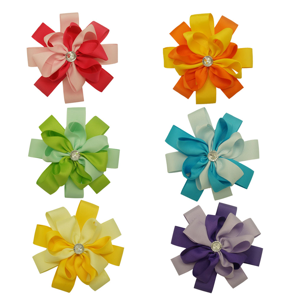 New Design 2Color 2Layers Flower Crystal Hairclip Boutique Grosgrain Ribbon Hair Bow With Clip Girls Hair Acceessories 12Pcs/lot