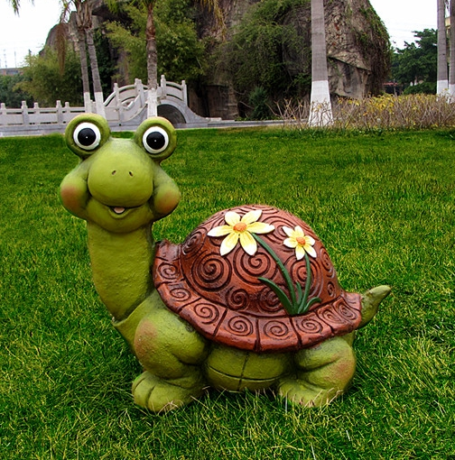 Simulation animal turtle courtyard garden ornaments resin for Turtle decorations for home